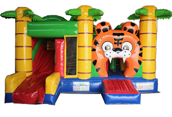 Tiger jumping castle with slide
