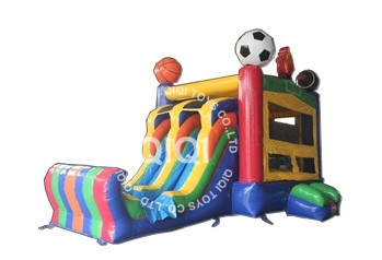 football inflatable castle with slide
