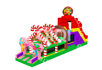 Candy inflatable castle obstacle course