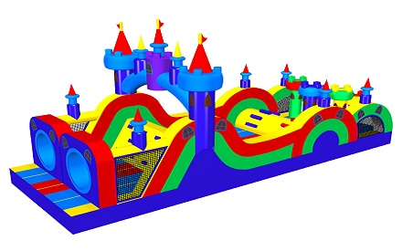 Colorful Castle Inflatable Obstacle Course