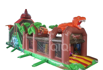 Dinosaurs escape long obstacles