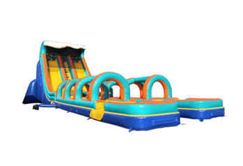 Double lane inflatable slip water slide