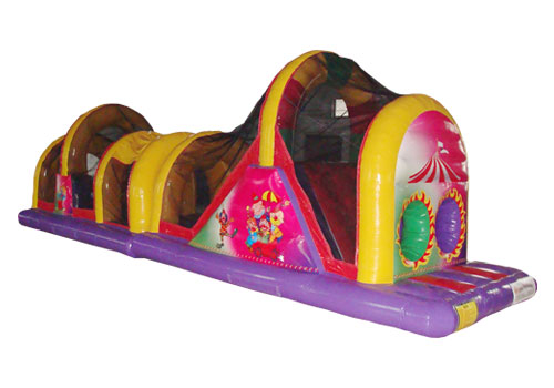 Double lane inflatable obstacle tunnel