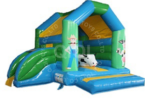Medium Moonwalk ranch with slide