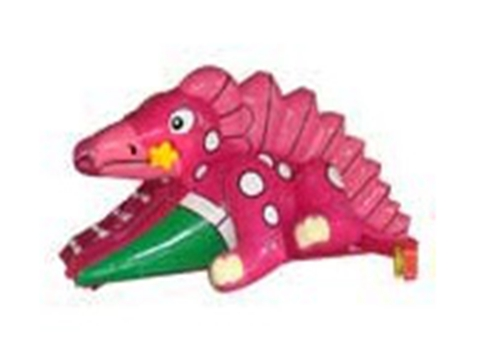 Pink Dinosaur Inflatable Slide