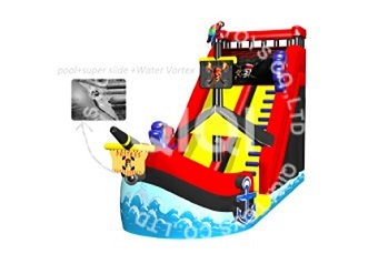 Pirate surfing inflatable water slide