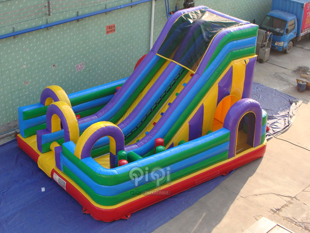 Bouncy obstacle slide playground combo