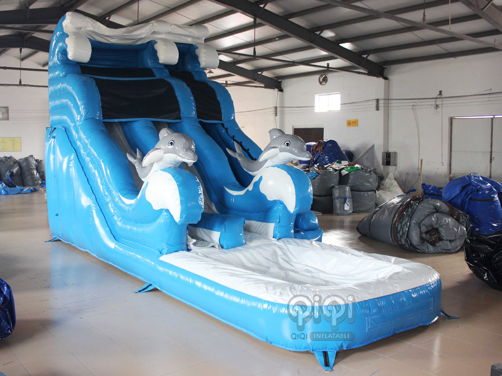 Blue Dolphin inflatable water slide-QIQI TOYS INFLATABLES