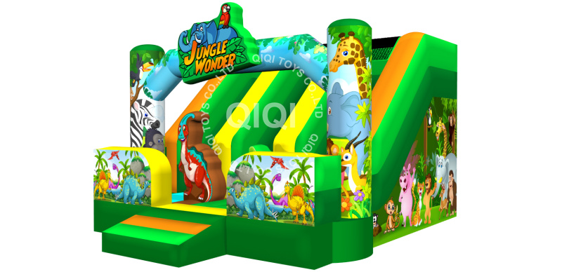 Jungle inflatable slide bouncy house castle