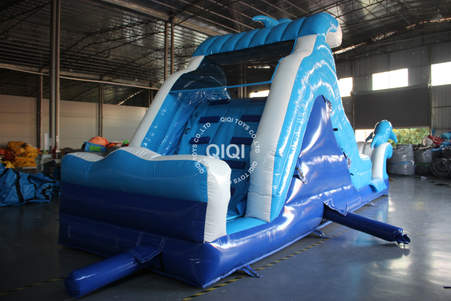 Inflatable Dolphin Water Slide For Backyard-QIQI TOYS INFLATABLES